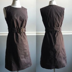 Milly Chocolate Brown Belted Sheath Dress